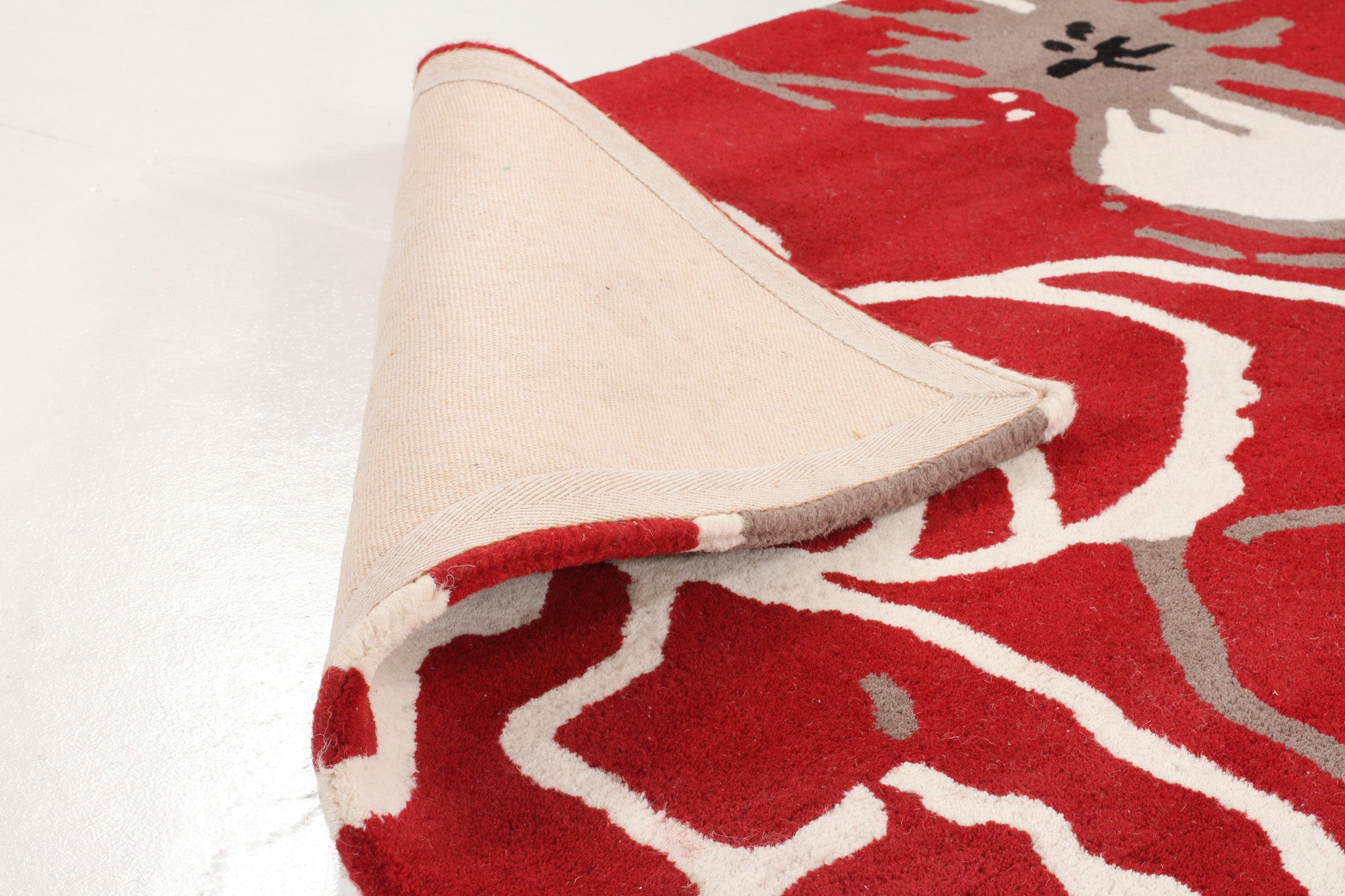 Designer Wool Rug Bloom Red