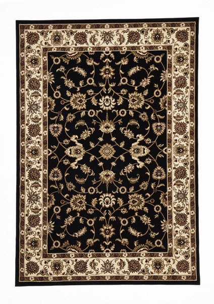 Classic Rug Black with Ivory Border