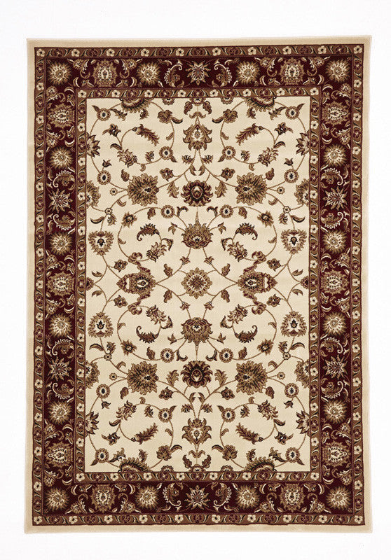 Sydney 1 Rug - Ivory with Red Border