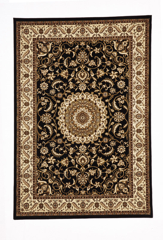Sydney 9 Rug - Black with Ivory Border