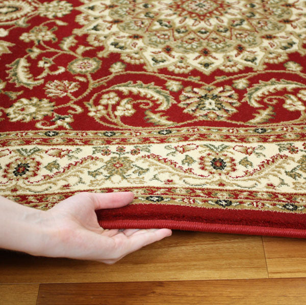 Royal Border Oriental Rug By Rug Culture: Medallion Rug Red With Ivory Border