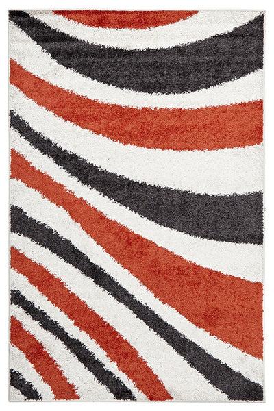 Burst Shag Rug Tangerine and Charcoal
