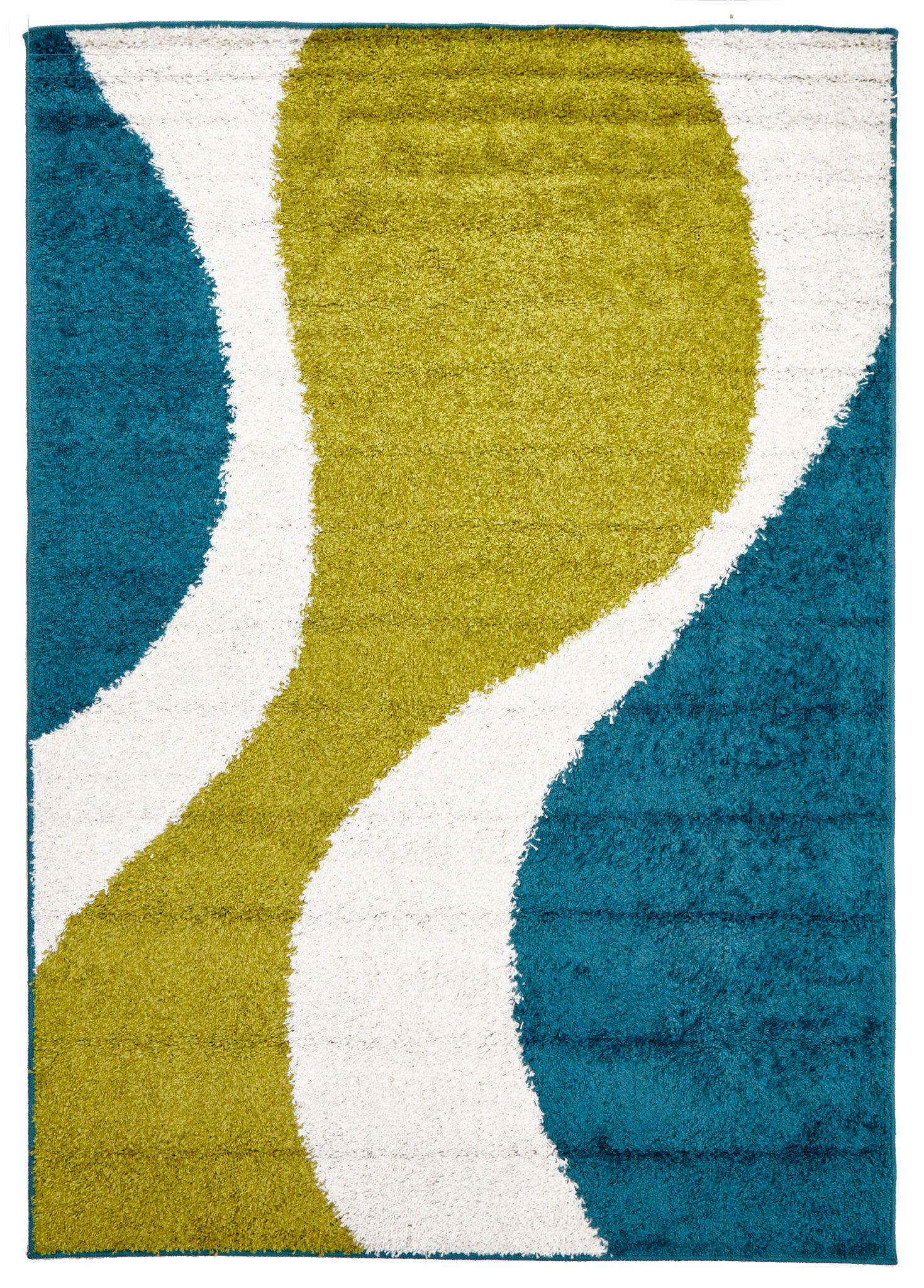 Viva 809 Shaggy Rug - Lime Blue White