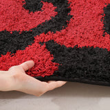 Damask Style Print Shag Rug Red Black