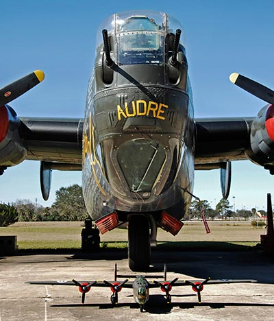 The FlightLine RC B-24 dressed up as 'Audre' with the full scale version.