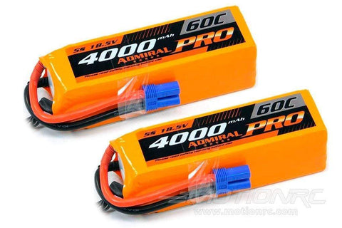 Admiral Pro 4000mAh 5S 18.5V 60C LiPo Battery with EC5 Connector Multi-Pack (2 Batteries) EPR40005PRO