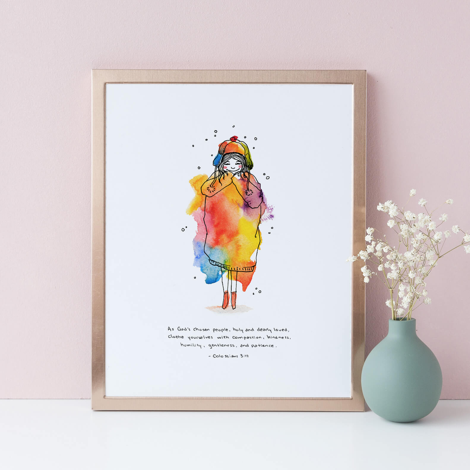 Framed Clothed in Love Art Print | Colossians 3:12