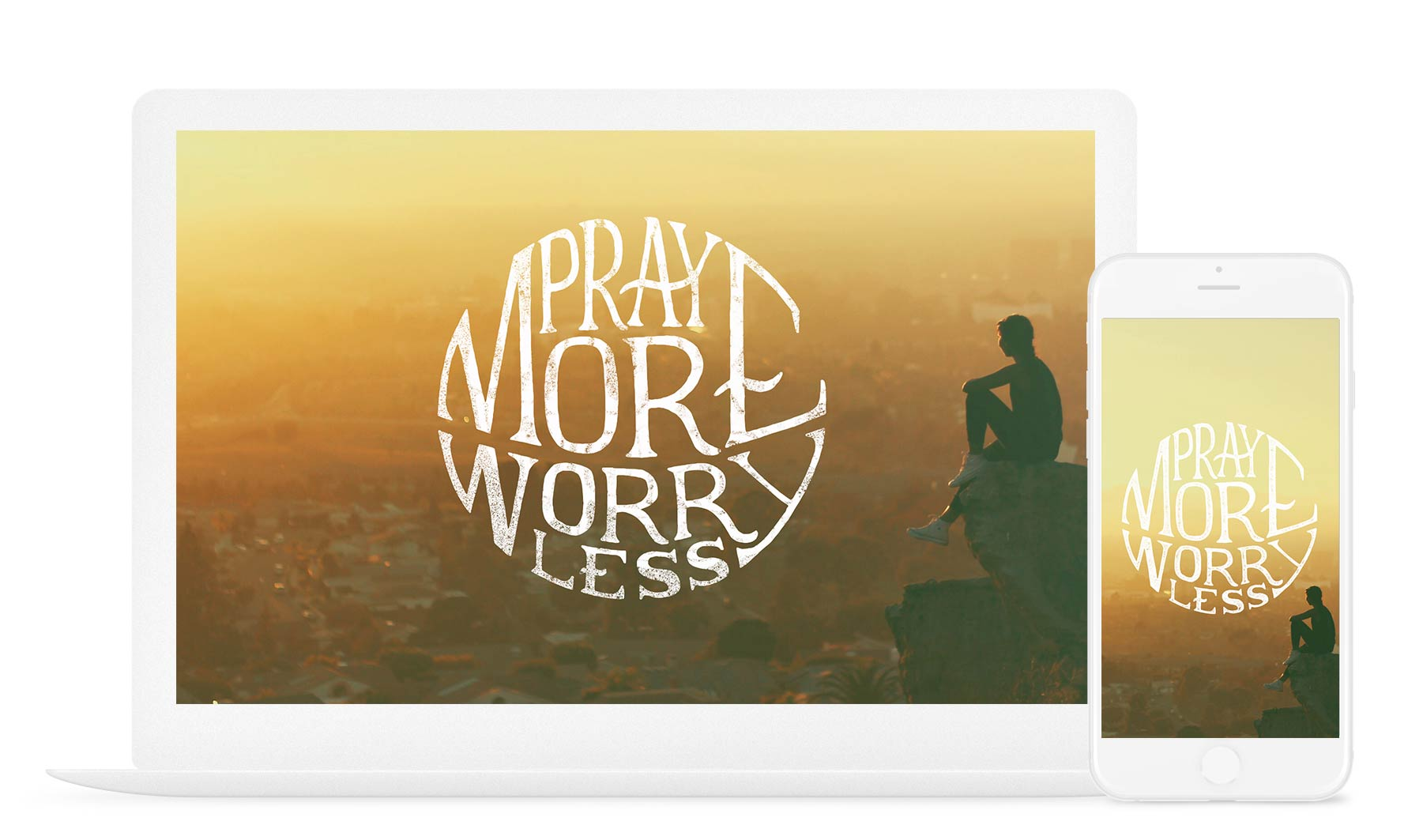 Pray More, Worry Less Christian Quote Wallpaper
