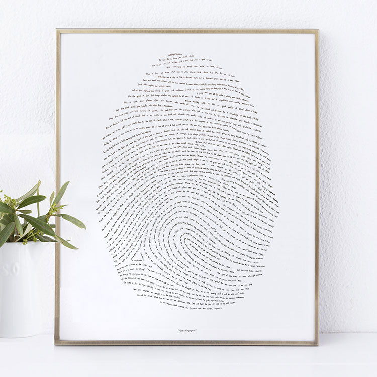 God's fingerprint letterpress art print thumbprint scripture art bible verse