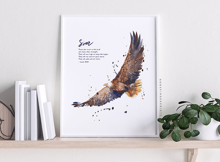 Isaiah 40:31 Soar on wings like eagles scripture art christian gift for men bible verse