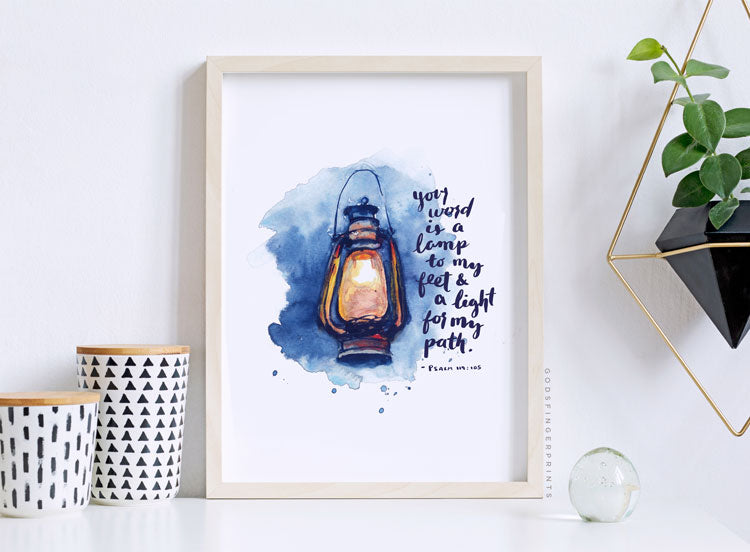 Psalm 119:105 lamp to my feet artwork scripture art bible print christian gift