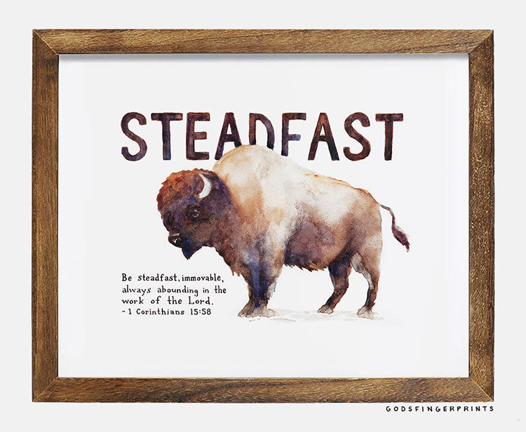 1 Corinthians 15:58 Steadfast - Scripture Art Print Bible Verse Bison - Christian Gift for Men