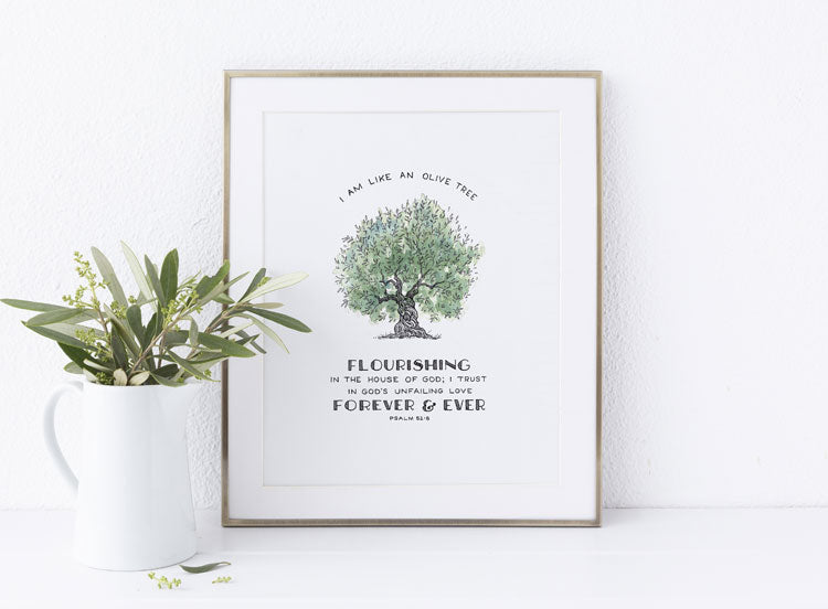 Tree of Faith Flourishing Olive - Scripture Art Print with Bible Verse Christian Gift for Men