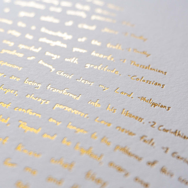 Illuminated Fingerprint Scripture Art Print - Detail of Bible Verses