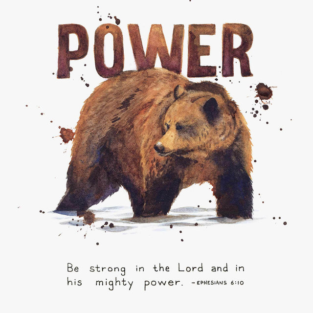 "Scripture Artwork of ""Be strong in the Lord and in his mighty power."" - Ephesians 6:10"