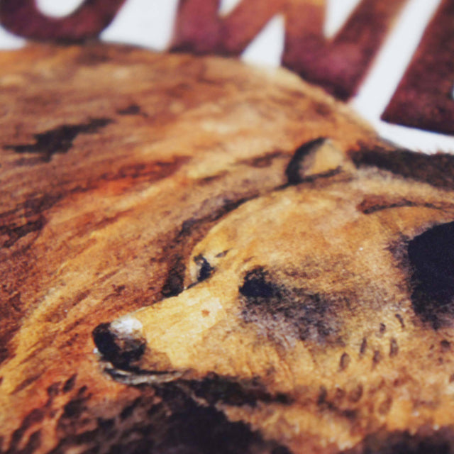 Watercolor Detail of Bear Power - Ephesians 6:10 | Scripture Wall Art