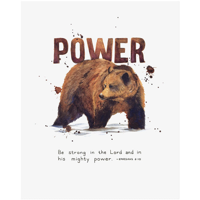 Word + Creation Bundle - Scripture Art Power grizzly Bear animal verses bible