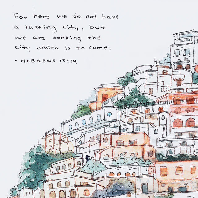 Closeup of Hebrews 13:14 Lasting City Bible Art Print