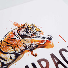 Courage - Joshua 1:9 Bible Art Print with Tiger Watercolor Illustration