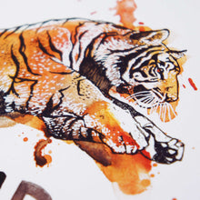 Courage - Joshua 1:9 Scripture Art Print Closeup of Tiger