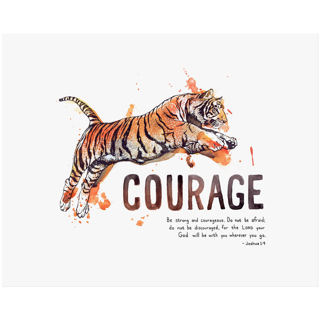 Word + Creation Bundle - Scripture Art Tiger Courage Joshua 1:9