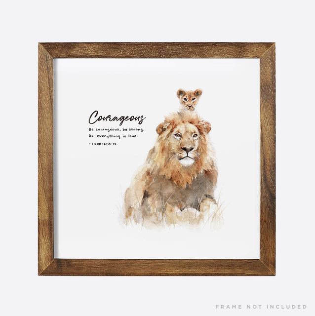 Courageous lion and cub scripture wall art