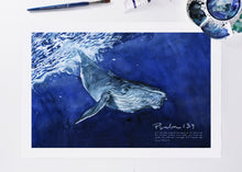 Psalm 139 - Whale watercolor painting art print