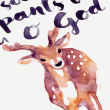 As the Deer Pants for Water - Psalm 42:1 Watercolor Painting Closeup