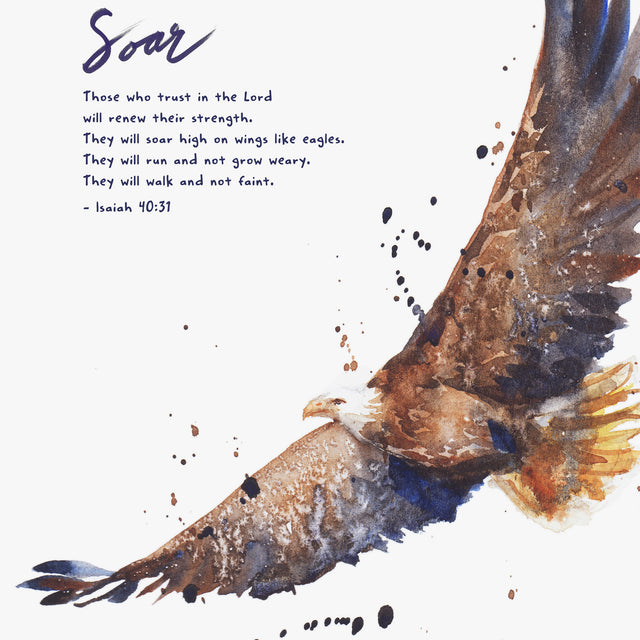"Scripture Artwork of ""Those who trust in the Lord will renew their strength.⁣ They will soar high on wings like eagles. ⁣They will run and not grow weary. ⁣They will walk and not faint.⁣ - Isaiah 40:31⁣⁣"
