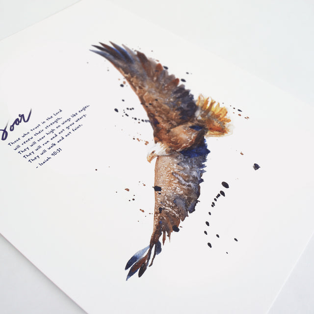 Angle shot of Soar On Wings Like Eagles - Isaiah 40:31 Scripture Artwork