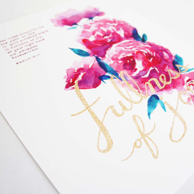 Fullness of Joy - Psalm 16:11 Scripture Artwork Watercolor Painting