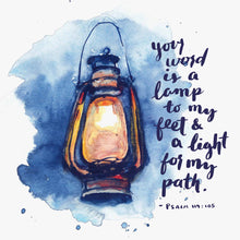 Close up of Psalm 119:105 Lamp to my Feet Bible Art Print