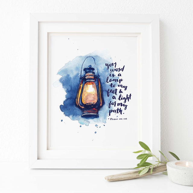 Framed Scripture Artwork of Psalm 119:105 Lamp to my Feet Bible Art Print