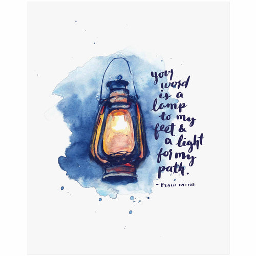 Psalm 119:105 Lamp to my Feet Bible Art Print