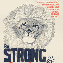 Be Strong & Courageous - Joshua 1:9 Scripture Wall Art with Lion
