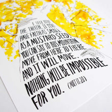 Angle shot of Mustard Seed Faith - Matthew 17:20 Scripture Art Print