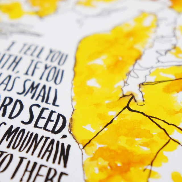Verse Detail of Mustard Seed Faith - Matthew 17:20 Bible Art Print