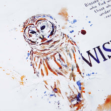 Verse detail of Wisdom Owl - Proverbs 3:13 Bible Art Print