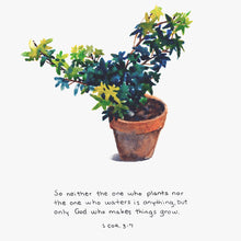 "Bible Art Print for ""So neither the one who plants nor the one who waters is anything, but only God who makes things grow."" - 1 Corinthians 3:7"