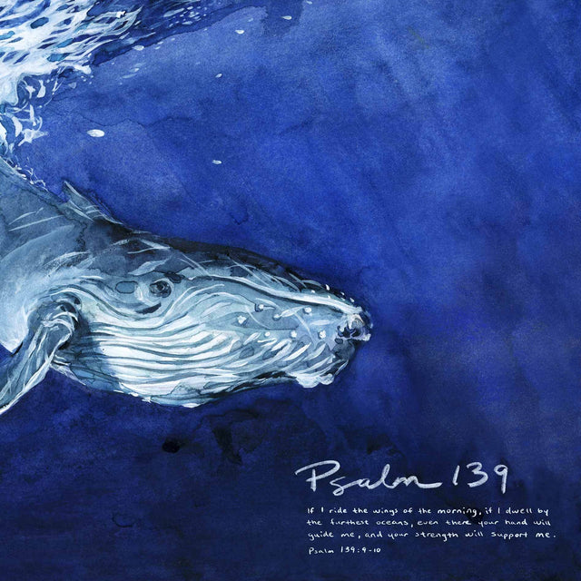 Close up of Whale Psalm 139 Wall Art with Scripture