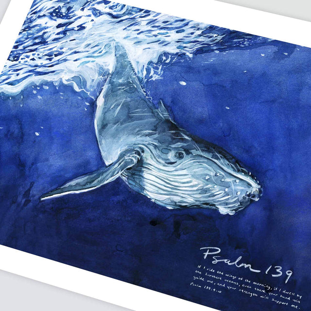 Angle Shot of Whale Psalm 139 Wall Art with Scripture