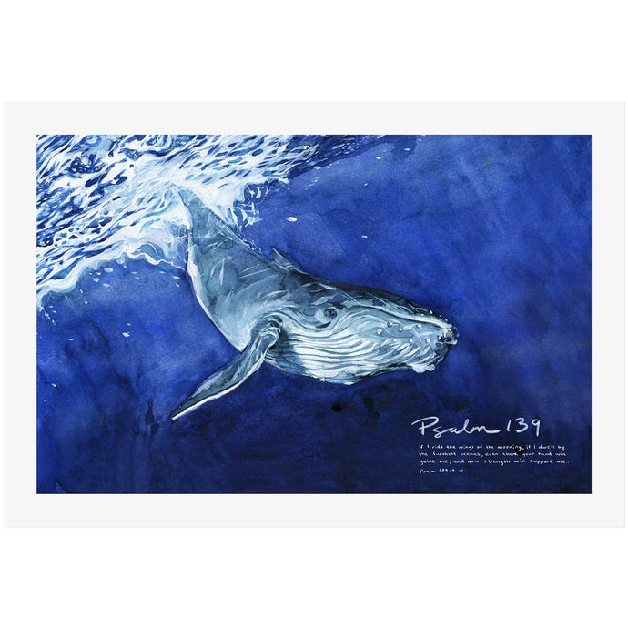 Whale Psalm 139 Wall Art with Scripture