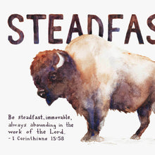 "Scripture Artwork of ""Be steadfast, immovable, always abounding in the work of the Lord."" - 1 Corinthians 15:58"
