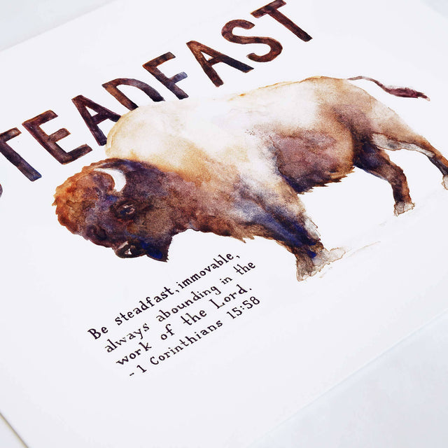 Angle of Steadfast Bison - 1 Corinthians 15:58 Scripture Art Print