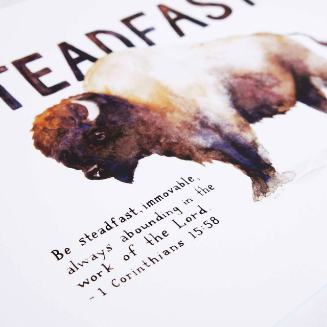 Verse Detail of Steadfast Bison - 1 Corinthians 15:58 Bible Art Print