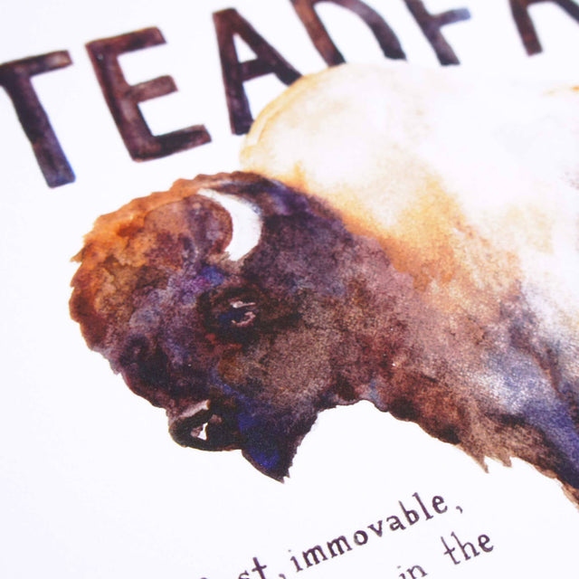 Painting Detail of Steadfast Bison - 1 Corinthians 15:58 Scripture Wall Art