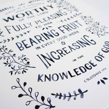 Verse Detail of Walk Worthy - Colossians 1:10 Bible Art Print