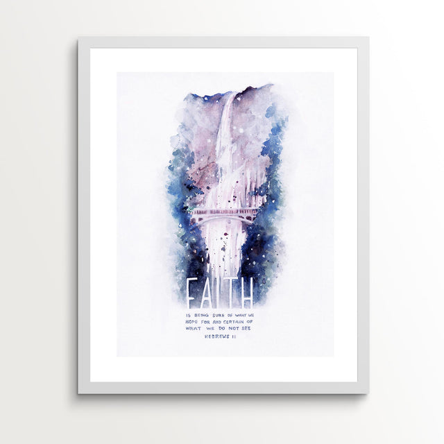 Framed Scripture Art - Hebrews 11:1 Faith Waterfall