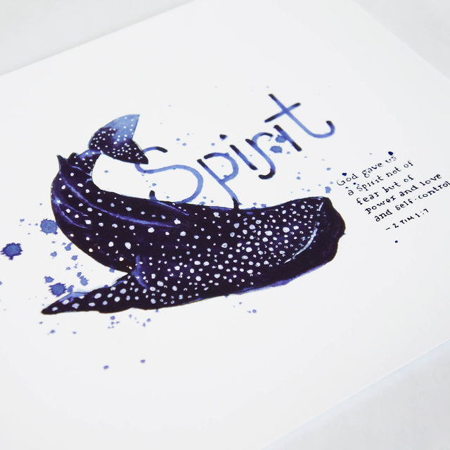 Angle of Spirit - 2 Timothy 1:7 Scripture Art Print with Whaleshark