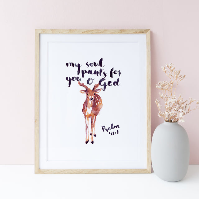 Framed Scripture Wall Art - Psalm 42:1 As a deer pants for water